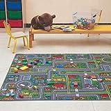 Carpet Studio Alfombra Carretera 140x200cm, Alfombra Infantil para Dormitorio & Cuarto de Jugar, Lavable a Máquina, Fácil de Limpiar, Anti-Deslizante - Playcity
