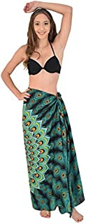 Island Style Clothing Sarongs Mandala Peacock Womens Beach Swimsuit Coverup Bikini Wrap + Coconut Clip