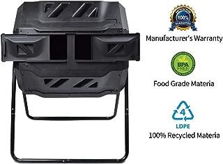Composting Tumbler - Dual Rotating Outdoor Garden Compost Bin, Easy Turn/Enough Height/Heavy Duty Capacity Composter(43 Gallon, Balck)