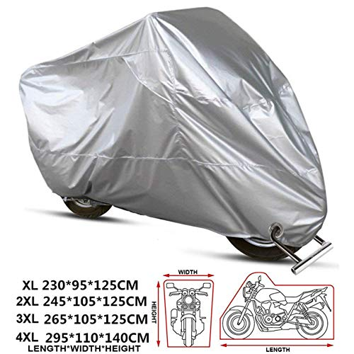 ANFTOP Telo Coprimoto Impermeabile Per Esterno XXXXL universale 210D Spessa Tessuto Copri Scooter Moto Motociclo - Colore: argento 4XL