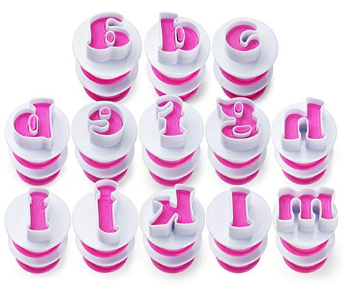 FANGSUN Large Alphabet Fondant Cake Mold, Cookie Stamp Impress, Embosser Cutter, Lowercase letters Shape DIY Cookie Biscuit