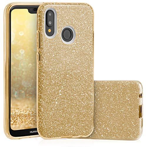 QULT Custodia Compatibile con Сover Huawei P20 Lite Silicone Oro Glitter Gel Brillantini Anti-Scratch Protettivo Bumper Case per Huawei P20 Lite Gold