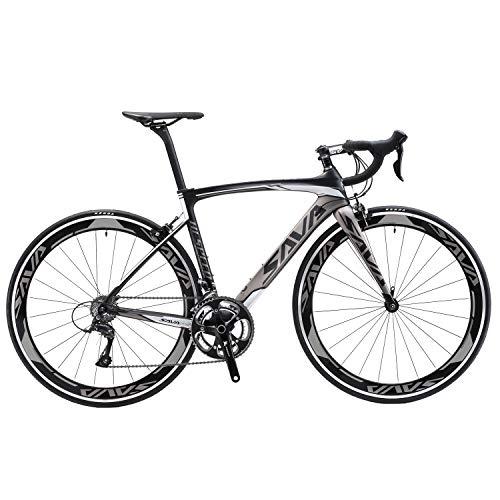 SAVADECK Carbon Road Bike, Windwar5.0 Carbon Fiber Frame 700C Racing Bicycle with 105 22 Speed Groupset Ultra-Light Bicycle (Grey, 50cm)