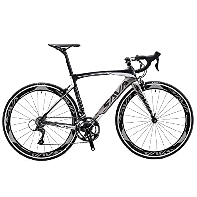SAVADECK Carbon Road Bike, Windwar5.0 Carbon Fiber Frame 700C Racing Bicycle with 105 22 Speed Groupset Ultra-Light Bicycle (Grey, 50cm)