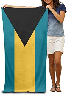 Flag of The Bahamas Adult Beach Towels Fast/Quick Dry Machine Washable Lightweight Absorbent Plush Multipurpose Use Quality Towels for Swim,Pool,Beach,Gym,Camping,Yoga