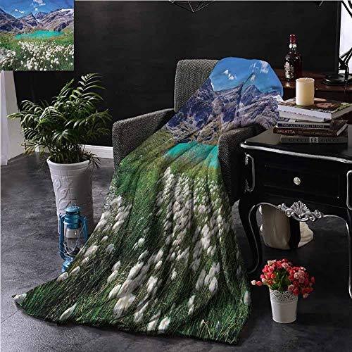 GAJIOE DIY Printing Blanket and Throw Blanket Mountain Lake Dorm Bed Nursery Crate Traveling Dandelion Flowers W39 xL39