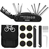 Camelize Fahrrad Multitool, 16-in-1 Fahrrad Zubehör,Multifunktions Fahrrad Werkzeug mit Reifenheber Selbstklebendes Fahrradflicken für Mountainbike und Rennräder