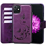 WaterFox Case for iPhone 11 Leather Case with 2 in 1 Detachable Cover, Women's Embossed Pattern with 4 Card Slots & Wrist Strap Case (Purple - iPhone 11)