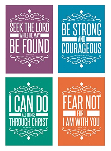 Christian Assorted (32 Pack) POSTCARDS Religious Bible Quotes Scripture Motivational Inspirational Famous Verse Biblical Spiritual Bible Church Encouragement Set (4x6 Inches) 4 Designs, 8 of Each