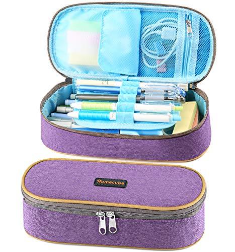 Homecube Gut Design große Kapazität Federmappe Schreibzeug Kasten Studenten Praktische Bleistifthalter (Lila)