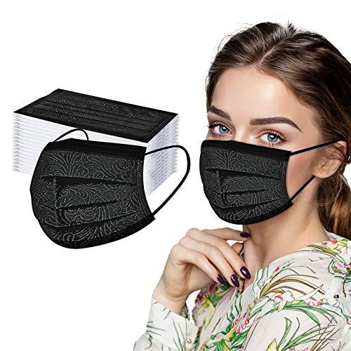 Diadia_Home Spunlace Erwachsene Einweg Mundschutz Spunlace Nicht wiederverwendbar Atmungsaktiv Gedruckt Staubschutz Gesicht Bandanas Earloop-Schal Staubdichte atmungsaktiv (Stil C, 50 PC-B)