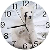 ALLdelete# Wall Clock Lindo bebé Oso Reloj de Pared Redondo silencioso sin tictac con Pilas fácil de Leer para Estudiante Oficina Escuela hogar Decorativo Reloj Arte