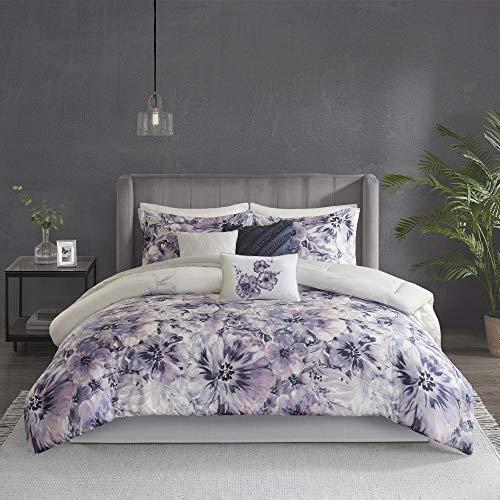 "Madison Park 100% Cotton Comforter Contemporary Floral Design All Season Set, Matching Bed Skirt, Decorative Pillows, Queen(90""x90""), Purple"