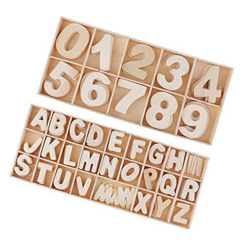 Bonarty 216 Stücke Holzbuchstaben Holz Nummer Zahlen 0 9 DIY Malen Dekorationen