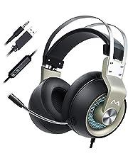 Mpow EG3 Pro ゲーミングヘッドセット 3.5mm 5.1ch FPS 高音質 ノイズキャンセルマイク付き 50MMドライバー 自動調整ヘッドバンド ゲーム用 PC/PS4/PS4 Pro/PS4 Slim/MAC OS対応 ヘッドフォン シルバー