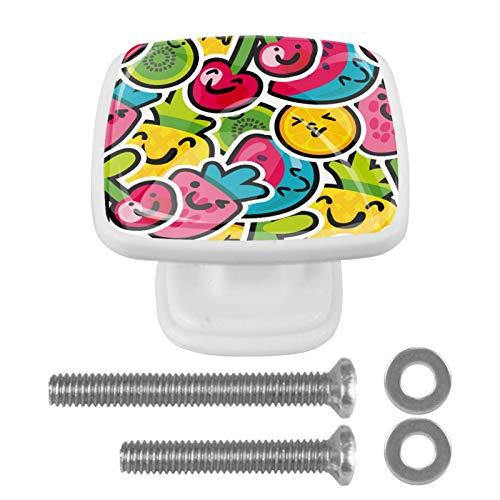 Juego de 4 pomos hechos a mano, varios colores, tiradores de cajón, ideales para cualquier hogar, cocina u oficina, tapa de tornillo y pernos, frutas coloridas, cereza, fresa