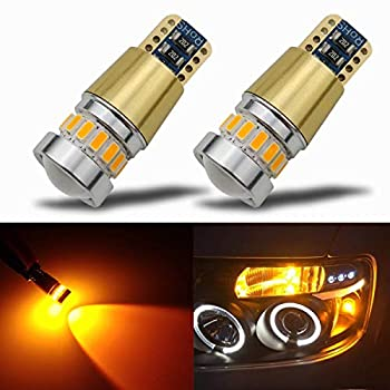 KISLED Newest 12-24V Super Bright 194 912 921 168 175 2825 W5W T10 LED Bulbs with Projectors for Side Marker Cargo High Mount 3rd Brake Lights Amber Yellow