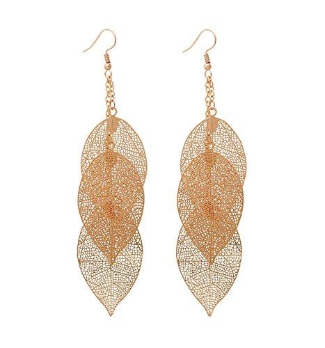 Filigree Copper Leaf Earrings Fashion Style Leaf Shape Dangle Earring Long Teardrop Dangle Drop Earrings For Women Girls (gold)