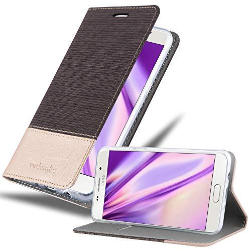Cadorabo Hülle für Samsung Galaxy J5 2016 in ANTRAZIT Gold - Handyhülle mit Magnetverschluss, Standfunktion & Kartenfach - Hülle Cover Schutzhülle Etui Tasche Book Klapp Style