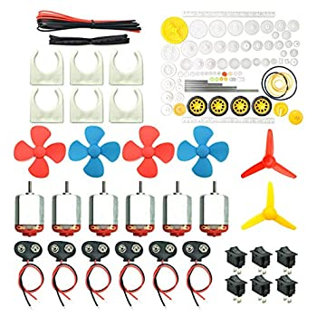 6 Set DC Motors Kit Mini Electric Hobby Motor 3V -12V 25000 RPM Strong Magnetic with 86Pcs Plastic Gears 9V Battery Clip Connector,Boat Rocker Switch,Shaft Propeller for DIY Science Projects