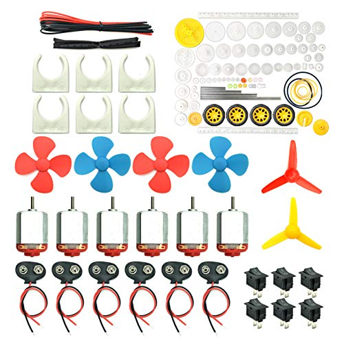6 Set DC Motors Kit, Mini Electric Hobby Motor 3V -12V 25000 RPM Strong Magnetic with 86Pcs Plastic Gears, 9V Battery Clip Connector,Boat Rocker Switch,Shaft Propeller for DIY Science Projects