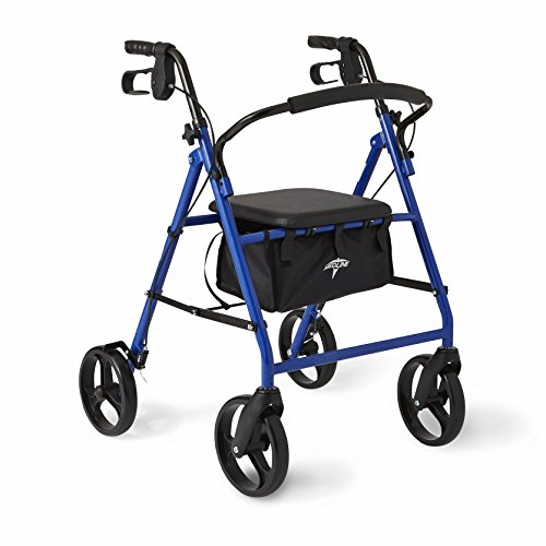 Medline Standard Steel Folding Rollator Adult Walker with 8' Wheels, Blue