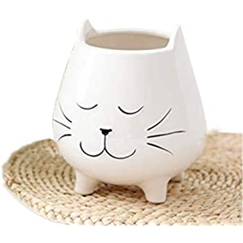1pc White Ceramic Cat Plant Pots, Cute Cat Planter with Drainage Holes, Candle Holder, Make UP Brush Holders, Pen Holders, Fits Small House Plants, for Home, Kitchen & Office Decor (Small, 1pc)