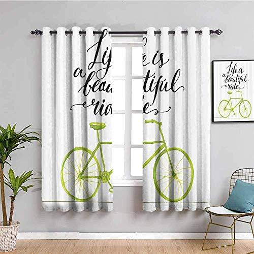 MENGBB Cortina Opaca Microfibra Infantil - Blanco bicicleta letras sencillez - 90% Opaca Cortina aislantes de frío y Calor - 140x160cm Decorativa con Ojales Estilo para Salón Habitación y Dormitorio