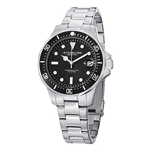 Stuhrling Original Men's 664.01 Aquadiver Quartz Date Black Dial Watch