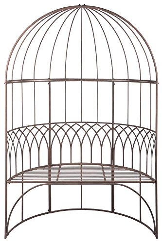 Esschert Design Pavillon mit Bank aus Metall, 120 x 62 x 185 cm, in klassischer Optik, sehr stabil