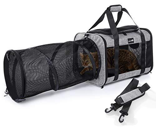 Pecute Transporttasche Transportbox Hundetasche Katzentasche mit Faltbarem Tunnel, Atmungsaktivem Netz und Abnehmbarem Kissen, Geeignet für Kätzchen und Welpen, Maximale Belastung 10 kg(Grau)