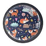 Möbelknopf für Katzen- oder Hundepfote, rund, für Küche, Schrank, Tür, Schlafzimmer, Kommode, Schublade, Comic Cartoon Fox, 3.5×2.8CM/1.38×1.10IN