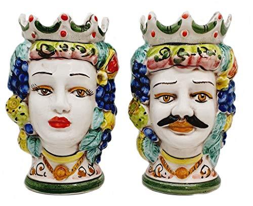 sicilia bedda - Par de cabezas de moro de cerámica de Caltagirone...