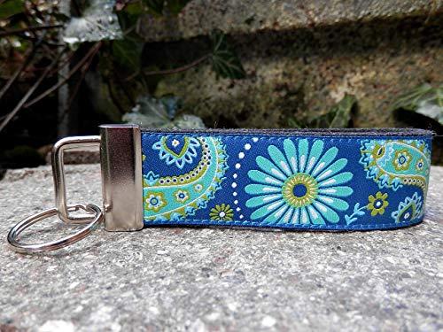 Schlüsselanhänger Schlüsselband schwarz grau Blumen Paisley blau Geschenk !