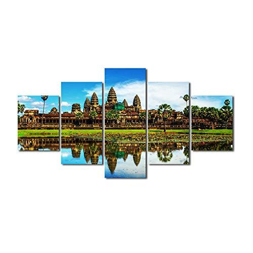 SESHA 5 Piezas De Lienzo Impreso Angkor Wat Templos Pintura Decoración De La Habitación Impresión Cartel Arte De La Pared(Enmarcado)