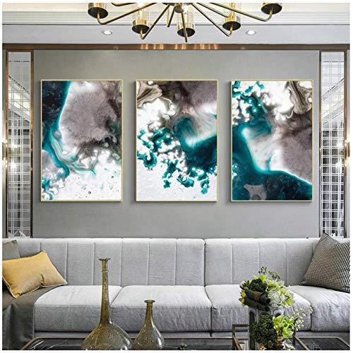 Pintura al óleo de onda abstracta azul marino sobre lienzo, carteles e impresiones, imágenes artísticas de pared para la sala de estar, Cuadros, decoración 30x40cmx3, sin marco artppolr