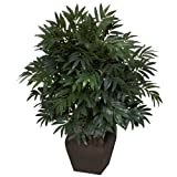 Nearly Natural 6718 35in. Double Bamboo Palm with Decorative Planter Silk Plant