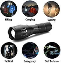 HOME BUY 5 Mode Zoomable 3 Modes of Flashing LED Flashlight Torch (Black)
