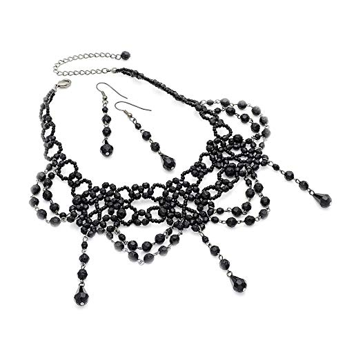 Black Beaded Vintage Victorian Gothic Steampunk Style Choker Necklace & Drop-Earring Set.