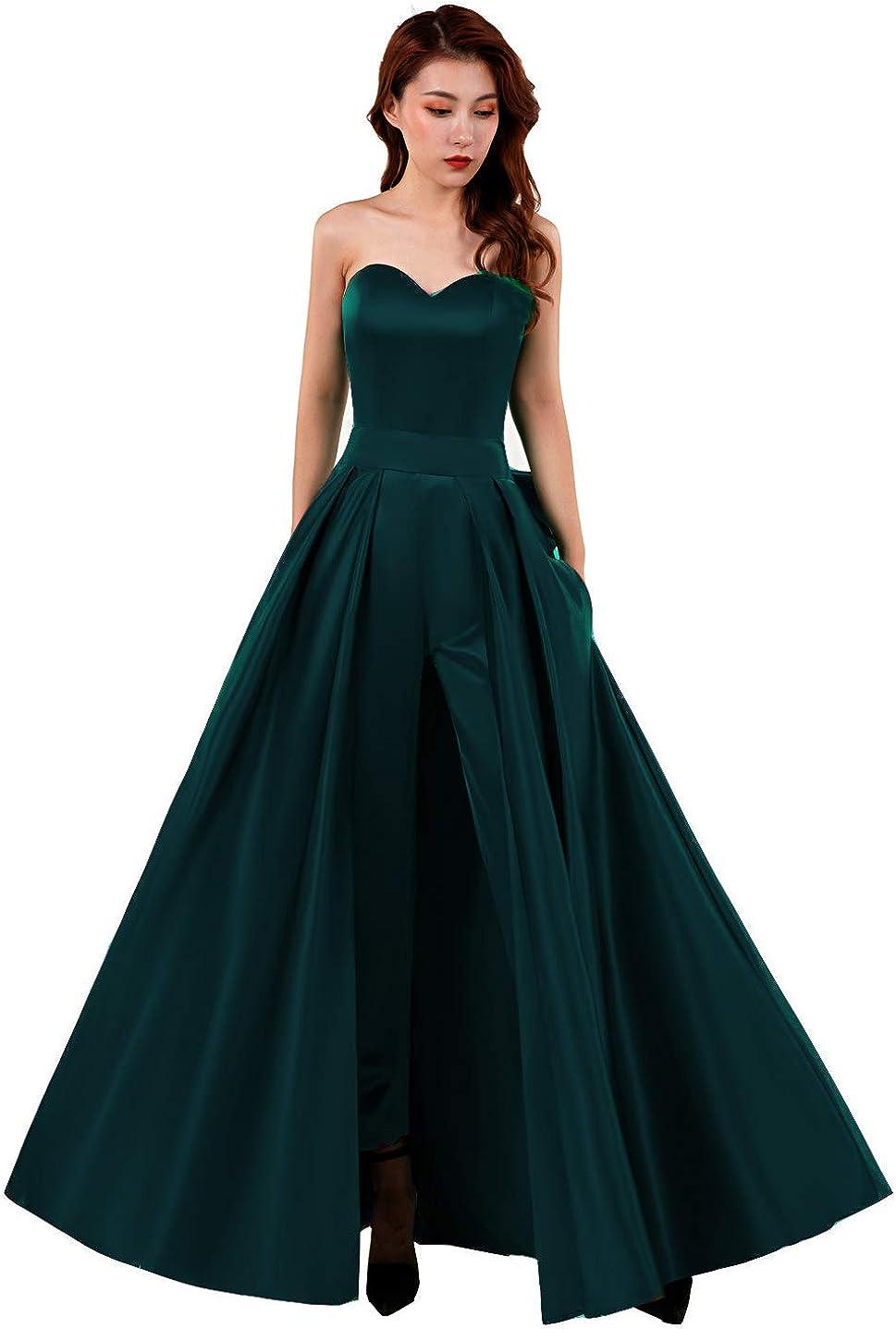 Honeydress Women's A Line Satin Jumpsuits Evening Dresses Detachable Skirt Sweetheart Prom Gowns Pants