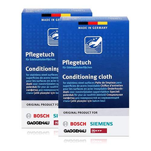 BSH Edelstahlpflegetücher für Bosch, Siemens, Gaggenau, Neff (2er Pack)