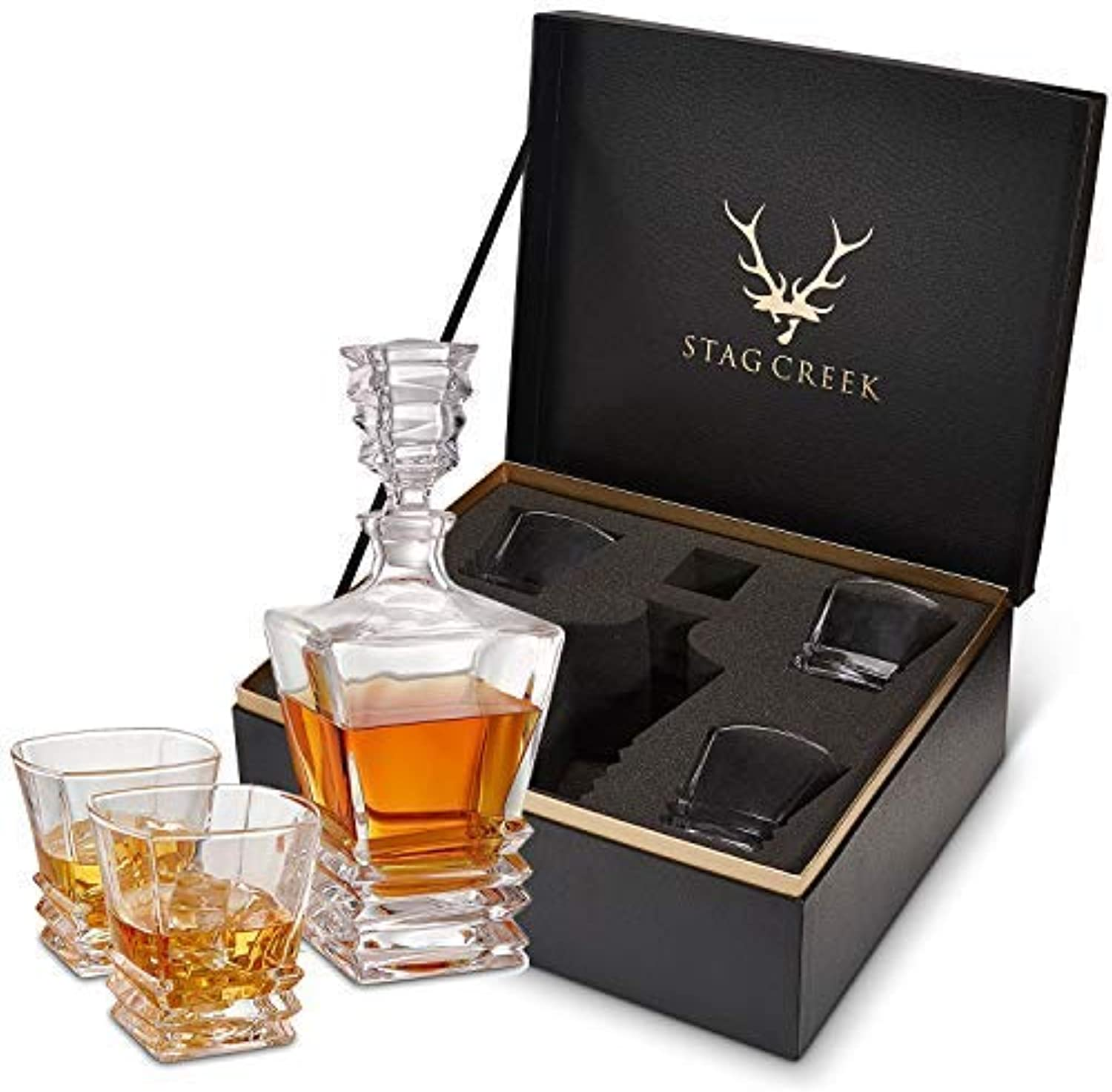 5-Piece Whiskey Decanter and Glass Set. Premium Quality Decanter and 4 Whiskey Glasses with Luxurious and Elegant Box. Liquor Decanters for Bourbon, Wine, Brandy, Gin and Whisky. Dishwasher Safe