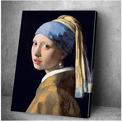 Póster de lienzo de chica con un pendiente de perla, pintura artística para pared, carteles nórdicos e impresiones, cuadros de pared para decoración del hogar con Cuadros