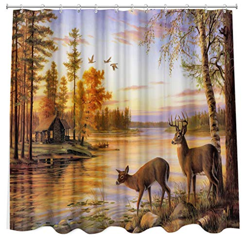 """Rustic Cabin Shower Curtain for Farmhouse, Nature Forest Realtree Elk Deer Moose River in Sunset Fabric Shower Curtains with Hooks 72""""X72"""", Outdoorsy Curtains Hunting Wildlife Lodge Bathroom Curtain"""