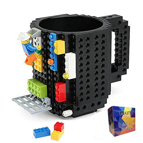 Build-On Brick Mug DIY Creative Building Blocks Coffee Cups Novelty Christmas Gift(Black)