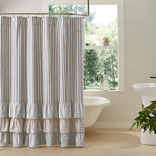 VHC Brands Kaila Country Cottage Farmhouse Blue Ticking Stripe Ruffled Shower Curtain 72x72
