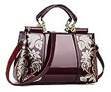 YAQUNICER, bolso de mano de cuero PU para mujer, bandolera de mensajero Hobo, bolsos de mano, bolsos de mano con patrones bordados-Vino Rojo