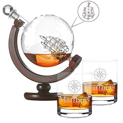 polar-effekt Whisky-Karaffe Globus Segelschiff mit Weltkarte - Zwei Whiskygläser Tumbler mit Gravur Motiv Kompass - Whisky Flasche Weltkugel Dekanter aus Glas 850ml - Geschenkidee für Männer