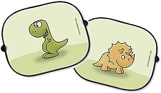 Auto Sonnenschutz Set Dinosaurier T Rex und Triceratops   Sonnenblende Schattenspender Babysitz Auto Kinder Sonnenschutzblende