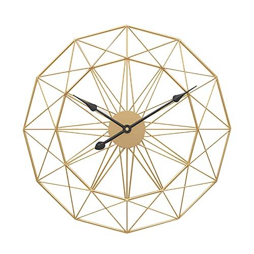 ABJING Grandes Relojes de Pared, 3D Metálico Reloj de Cuarzo de Cuarzo Silenciosos Sin Tictac Reloj Diseño Creativo para Sala de Estar, Dormitorio, Cocina(Size:60cm,Color:Dorado)